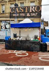 HUDDERSFIELD, UK - AUGUST 2, 2018:  Food stall at the annual Huddersfield Food and Drink festival in the centre of Huddersfield, West Yorkshire, UK