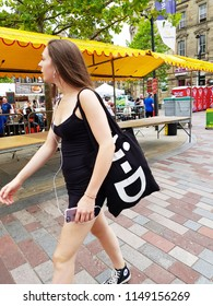 HUDDERSFIELD, UK - AUGUST 2, 2018: Unknown people at the Huddersfield Food and Drink festival in the centre of Huddersfield, West Yorkshire, UK