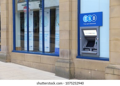 HUDDERSFIELD, UK - JULY 10, 2016: TSB Bank branch in Huddersfield, UK. The bank is a subsidiary of the Sabadell Group from Spain.