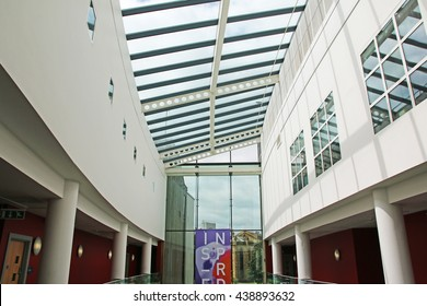 HUDDERSFIELD, UK - JUNE 18 2016: Atrium of the Creative Arts Building, Huddersfield University, a purpose-built, state-of-the-art facility which opened in July 2008