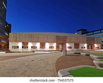 HUDDERSFIELD, UK - NOVEMBER 6, 2017: University of Huddersfield building, West Yorkshire, UK in the early morning. The university has almost 20,000 students.