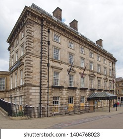 huddersfield, yest yorkshire, United Kingdom - 20 May 2019: The empty George Hotel in Huddersfield West Yorkshire, a historic building famous as the birthplace of rugby league football built in 1851