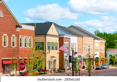 HUDSON, OH - JUNE 14, 2014: Hudson's new retail district, First and Main, was given a retro look to match the quaint charm of the village's original Main Street area one block away.