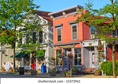 HUDSON, OH - JUNE 18: The charming historic shops in Hudson, Ohio, are spruced up in preparation for the annual summer Hudson Festival Days.