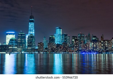 Hudson River and Night Cityscape of New York. Manhattan