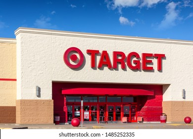 HUDSON, WI/USA - AUGUST 21, 2019: Target retail store and trademark logo.