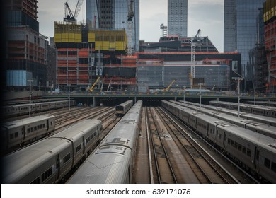 HUDSON YARDS, NEW YORK CITY, April 2nd 2017, Construction above the rail lines at the Hudson Yards development initiative on the west side of Manhattan at 34th street.