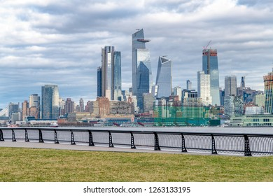 Hudson Yards skyscrapers and Manhattan skyline in New York City as seen from Jersey City.