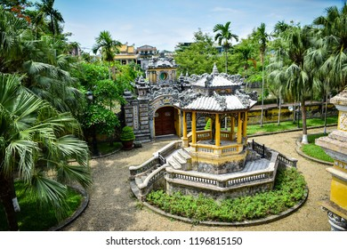 Hue City, Vietnam - 13 July 2018: An Dinh Palace located by the bank of An Cuu canal. This construction was renovated in modern style between 1917-1919 and became the residence of Bao Dai King.