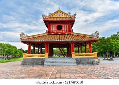 Hue City, Vietnam , July 13th , 2018, is a famous city for travel in Vietnam.   Phu Van Lau - The temple in the Imperial Palace citadel at Hue in Vietnam. Hue, a UNESCO World Heritage site.