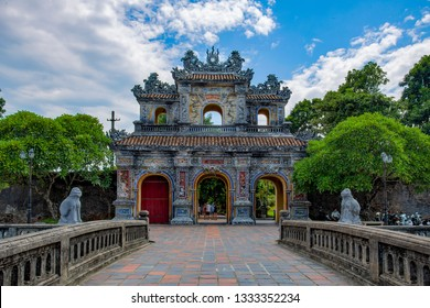 Hue City, Vietnam- Photo Trip-Jul. 2017 Wonderful view of the East Gate (Hien Nhon Gate) to the Citadel and a moat surrounding the Imperial City with the Purple Forbidden City in Hue, Vietnam.