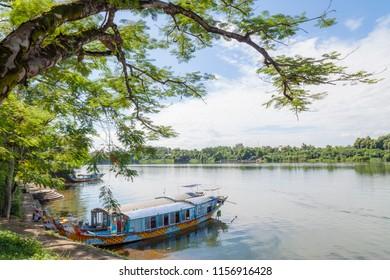 Hue, Thua Thien Hue/ Vietnam- 06/25/2017 :  Boat landing at the foot of Thienmu Pagoda