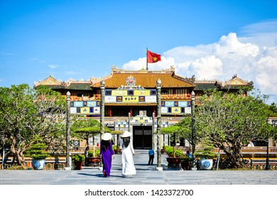 HUE, VIETNAM - 09 JUNE 2019: Imperial Royal Palace of Nguyen dynasty in Hue, Vietnam. Unesco World Heritage Site