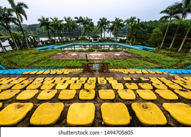 Hue, Vietnam - 17.4.2018: Desolated stadium in an abandoned water amusement park Ho Thuy Tien located in the outskirts of Hue, Central Vietnam