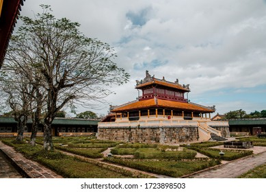 Hue, Vietnam – 27 July 2019: Temple in the Imperial City (citadel) of Hue (UNESCO World Heritage site). The place that leads to the palaces of kings, is the official in the 19th century in Hue, Vietna