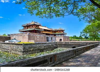 Hue, Vietnam - 27July 2019: Dai Noi Palace Complex of Hue Monuments. The place that leads to the palaces of kings, is the official in the 19th century in Hue, Vietnam