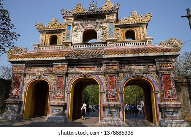 Hue, Vietnam - 7 February 2019: Capture the architecture and exterior of Hue Imperial city.