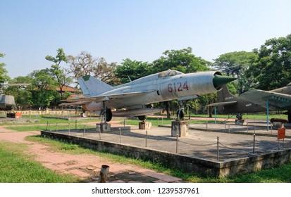 HUE - VIETNAM - APRIL 7, 2016 : Vietnam war era decommissioned Soviet Union supersonic jet fighter and interceptor aircraft Mikoyan Gurevich MiG 21 (Fishbed) displayed at HUE war museum.