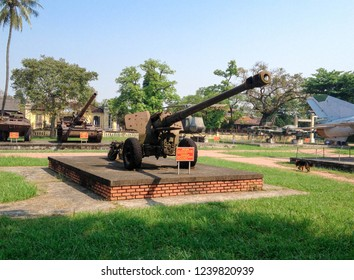 HUE - VIETNAM - APRIL 7, 2016 : Vietnam war era decommissioned Soviet Union 122 mm. howitzer artillery displayed at HUE war museum.
