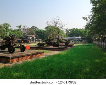 HUE - VIETNAM - APRIL 7, 2016 : Decommissioned Weapons of Vietnam war era of Soviet Union and USA displayed at HUE war museum.