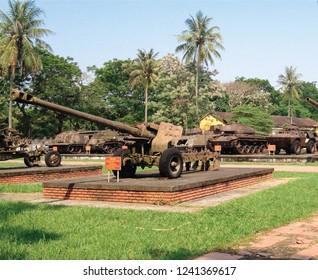 HUE - VIETNAM - APRIL 7, 2016 : Side view of Vietnam war era decommissioned Soviet Union 122 mm. howitzer artillery displayed at HUE war museum.