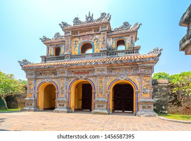 Hue, Vietnam - April 9th, 2019: Colorful imperial city gate. This is lead into the forbidden city where the feudal king work Imperial Royal was in the 19th century in Hue, Vietnam