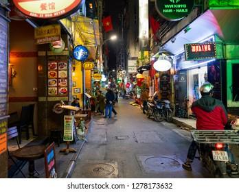 Hue, Vietnam - December 31, 2018: Downtown street in Hue at night, Vietnam