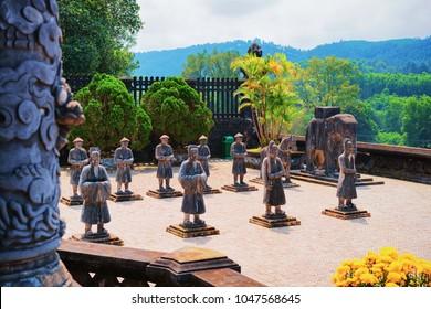 Hue, Vietnam - February 19, 2016: Statues in Khai Dinh Tomb, in Hue, Vietnam