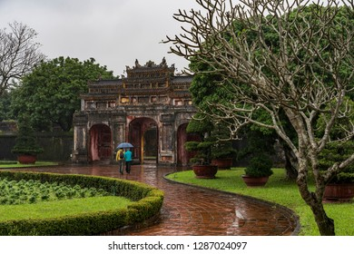 Hue, Vietnam - January 1, 2019: Dai Noi Palace (Complex of Hue Monuments) in vietnam, Unesco World Heritage