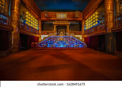 Hue, Vietnam - January14, 2020: The interior of the theater scene in the royal town of Hue. Vietnam