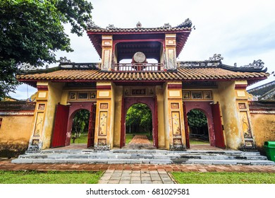 HUE, VIETNAM - JUL 13, 2017 -  The To Mieu temple, where seven emperors were honored, Imperial Royal Palace of Nguyen dynasty, Hue, Vietnam