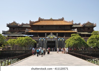 Hue, Vietnam - Jun, 11: Entrance of Citadel on June, 11, 2015. Hue, Vietnam