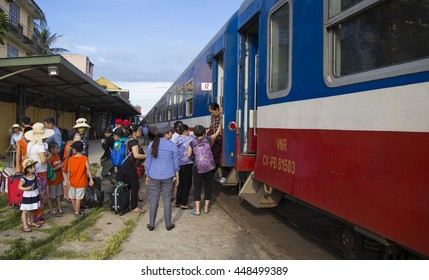 Hue, Vietnam - Jun 18, 2016: Close up of a SE train catching passenger in Hue Railway Station in the central Vietnam. The train is slow and noisy but very interesting for foreign travelers.