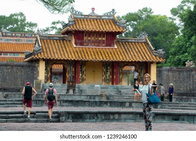 Hue, Vietnam - June 2017: tourists sightseeing Minh Mang royal tomb in Hue, Vietnam.