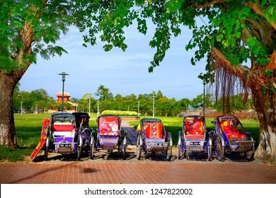 Hue, Vietnam - June 23, 2018 : Cyclo (pedicab) Beautiful Color in Hue, Vietnam. The cyclo is a three-wheel bicycle taxi .