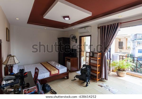 Hue, Vietnam - March 10 2017: room in Sunny B Hotel