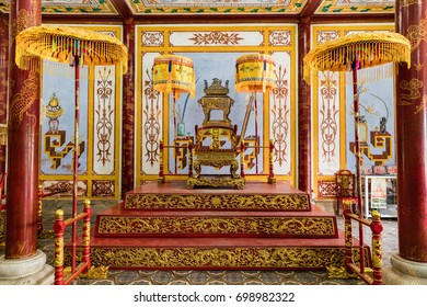 Hue, Vietnam - March 16, 2017: Royal throne in the theater in Hue. in Hue, Vietnam