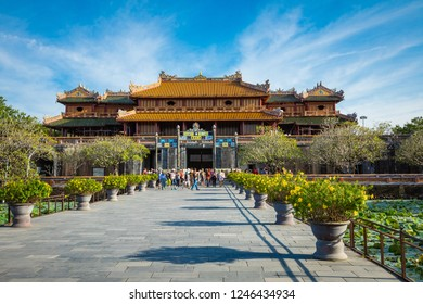 HUE, VIETNAM - NOVEMBER 17, 2018: Imperial Royal Palace of Nguyen dynasty in Hue, Vietnam. Unesco World Heritage Site.