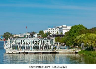 HUE, VIETNAM - NOVEMBER 19, 2018: Restaurant on the Perfume River in Hue, Vietnam. Popular tourist attraction.