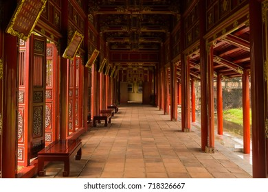 Hue, Vietnam - November 25, 2016: A beautiful gallery in the ancient palace area of the imperial city in Hue