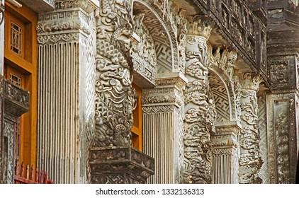 Hue, Vietnam, the Thien Dinh Palace decorative features.