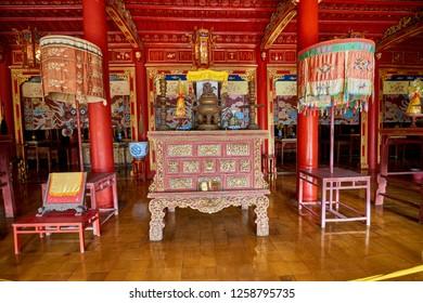 Hue, Vietnam-03 December 2014: Tomb in Hue Citadel, Imperial Royal Palace, Forbidden city in Hue, Vietnam