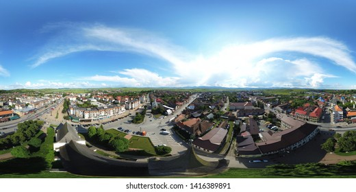 Huedin,Cluj/Romania-06.02.2019-360 panoramic sphere of centre of Huedin city located in Romania, Cluj state. Beautiful city transited by DN1E60 european road-linking the country to Europe. Small city