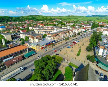 Huedin,Cluj/Romania-06.02.2019-Aerial view over the centre of Huedin city located in Romania, Cluj state. Beautiful city transited by DN1E60 european road-linking the country to Europe. Small city