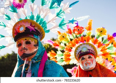 Huehues mexican dancers showcasing their traditional folk costumes rich in color Mexico