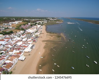 Huelva. Beach  El Rompido, El Portil. Andalusia, Spain. Drone Photo