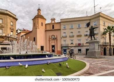 Huelva, Spain, Circa January 2017. Plaza de las Monjas and Columbus monument in downtown Huelva, Spain.