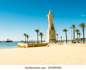 HUELVA, SPAIN - MAY 30: monument to Christopher Columbus on May 30, 2015 in Huelva, Spain. This city is in the confluence of the Odiel and Tinto rivers.