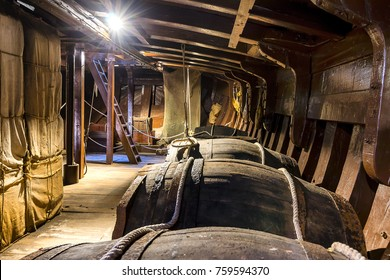 HUELVA, SPAIN - November 19 2017: Inside of Santa Maria caravel moored in port of Palos de la Frontera village, Huelva, Spain