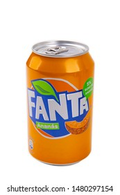 HUETTENBERG, GERMANY AUGUST 13, 2019 pineapple Fanta can on white background. Fanta is popular fruit-flavored carbonated soft drink created by Coca-Cola company.